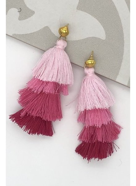 Four Tassel Drop Earrings - Pink