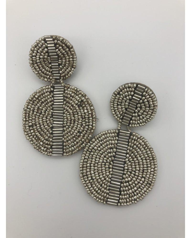 Double Circle Bead Earrings - Silver