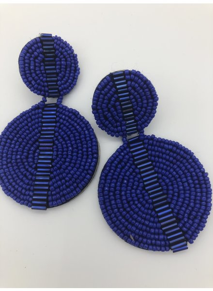 Double Circle Bead Earrings - Blue