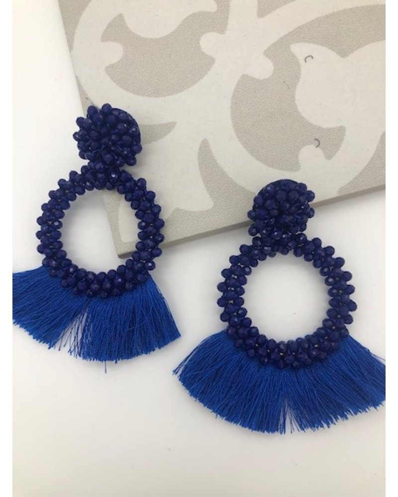 Bead and Fringe Statement Earrings - Royal