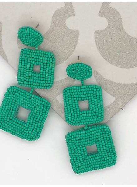 Bead Square Drop Earrings - Green