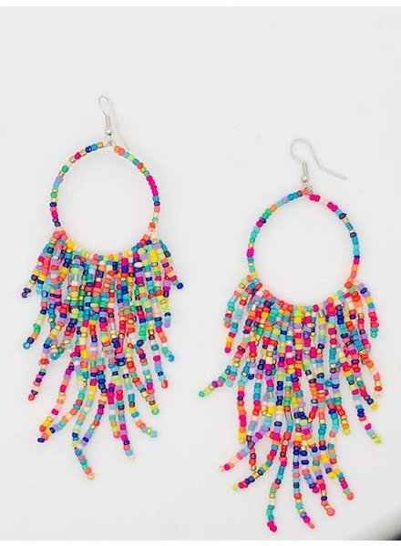 Multi Bead Tassel Hoop Earrings