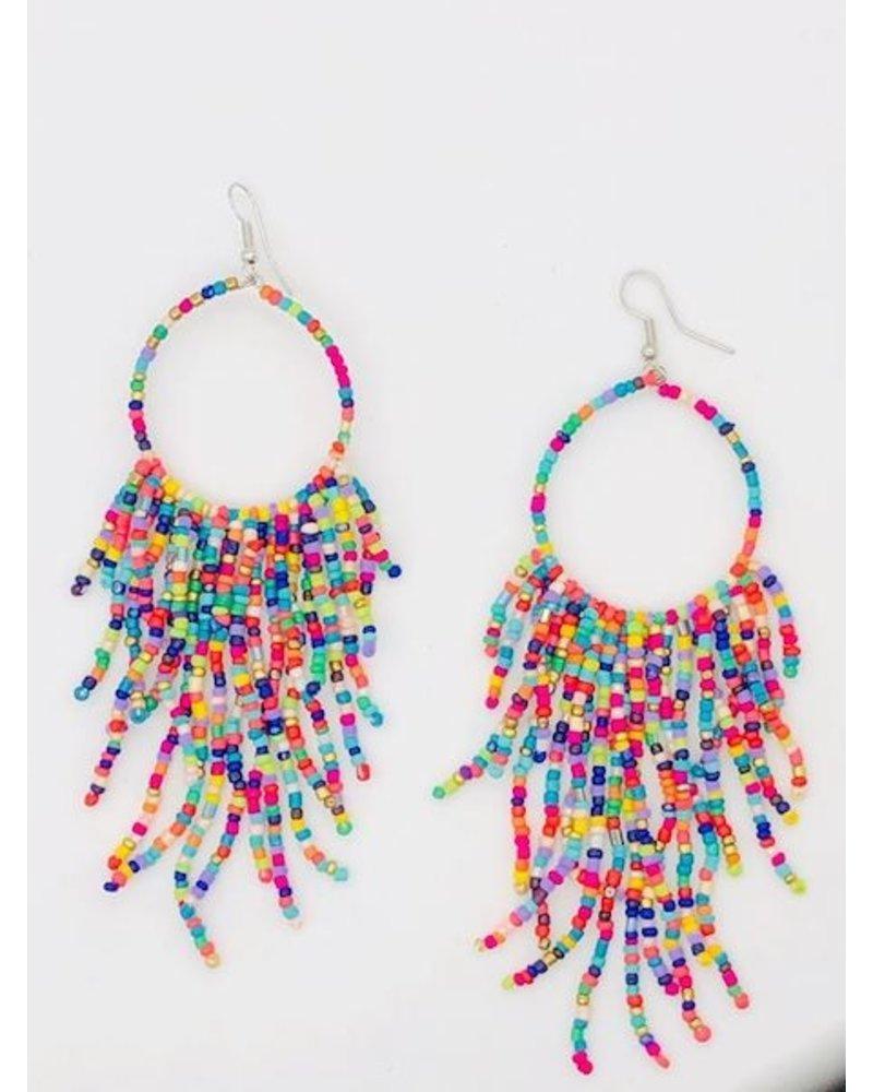 Mutli Bead Tassel Hoop Earrings