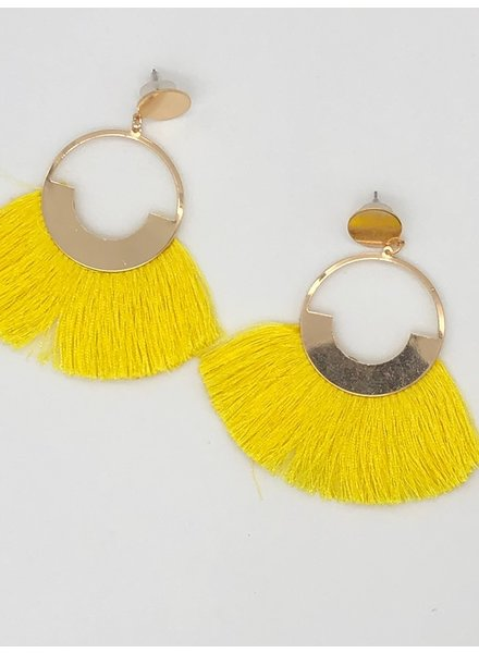 Circle Fringe Earrings - Yellow