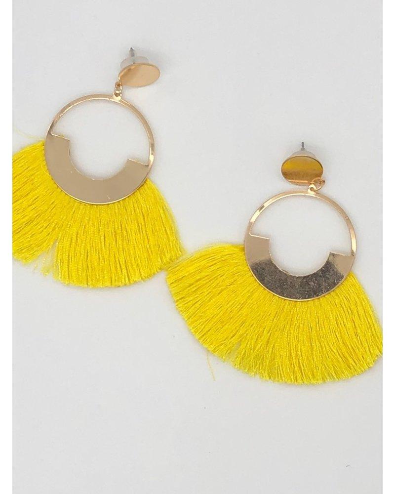 Circle Fringe Earrings - Yellow
