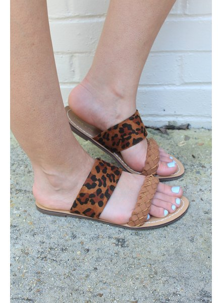 Leopard Braided Slip On Sandal