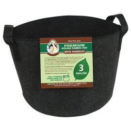 Gro Pro Gro Pro Premium Round Fabric Pot w/ Handles 3 Gallon - Black