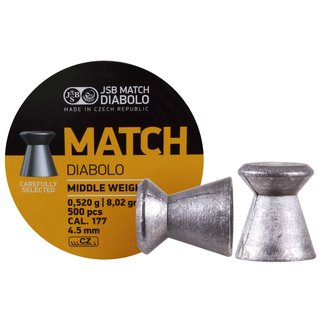 JSB Match Diabolo JSB Yellow Middle Weight .177 Cal, 8.02gr, 4.50mm