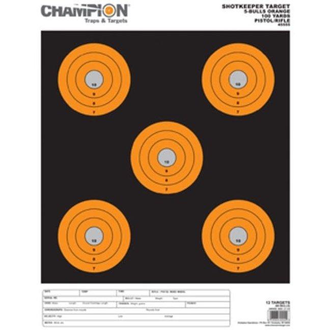Champion Shotkeeper 5 Bulls Orange Target - 12pk