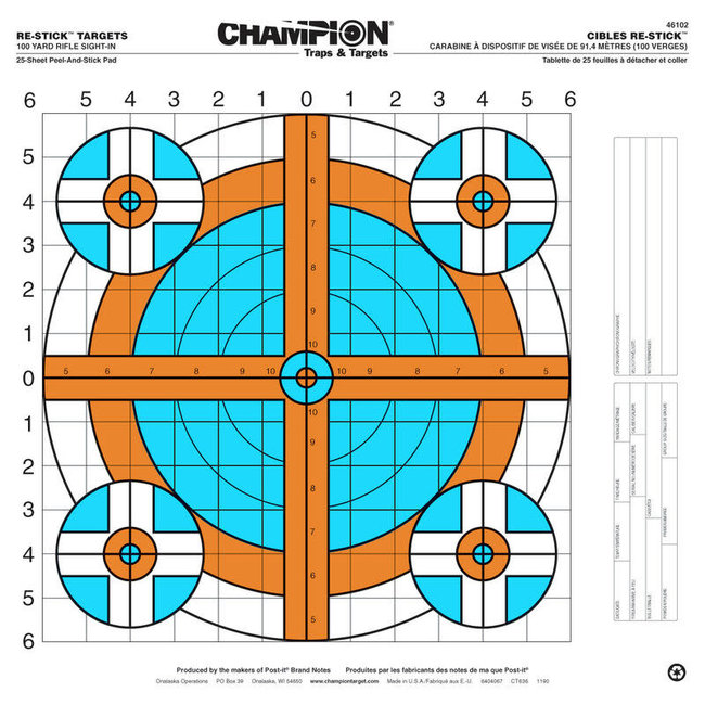 Champion 100yd Rifle Sight-In Target - 25pk