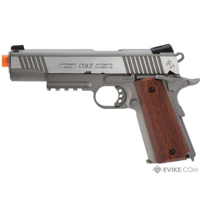 Colt 1911 Tactical Full Metal CO2 Airsoft Gas Blowback Pistol - Stainless Railed