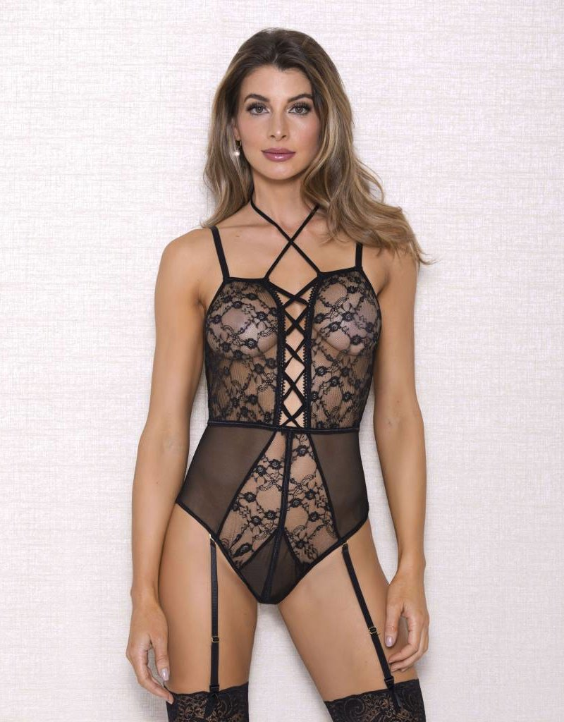 Multistrap Pleated Lace Teddy