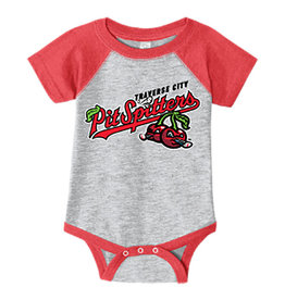 Rabbit Skins Infant Grey/Red Baseball Onesie