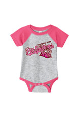 Rabbit Skins 2971 Infant Grey/Pink Baseball Onesie