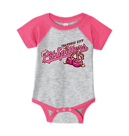 Rabbit Skins Infant Grey/Pink Baseball Onesie