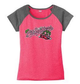 2646 Ladies Primary Raspberry/Graphite Poly Tee