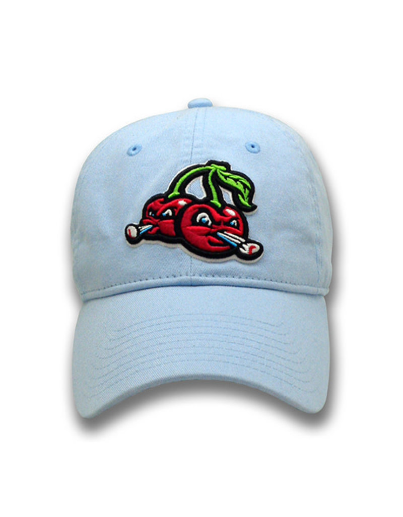 The Game 1222 Lt Blue Cherries Logo Washed Twill Cap