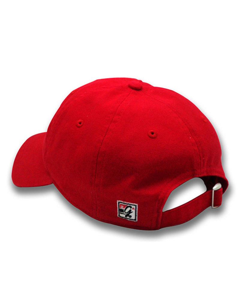 The Game 1406 Ladies Garment-Wash Script Logo Red Cap