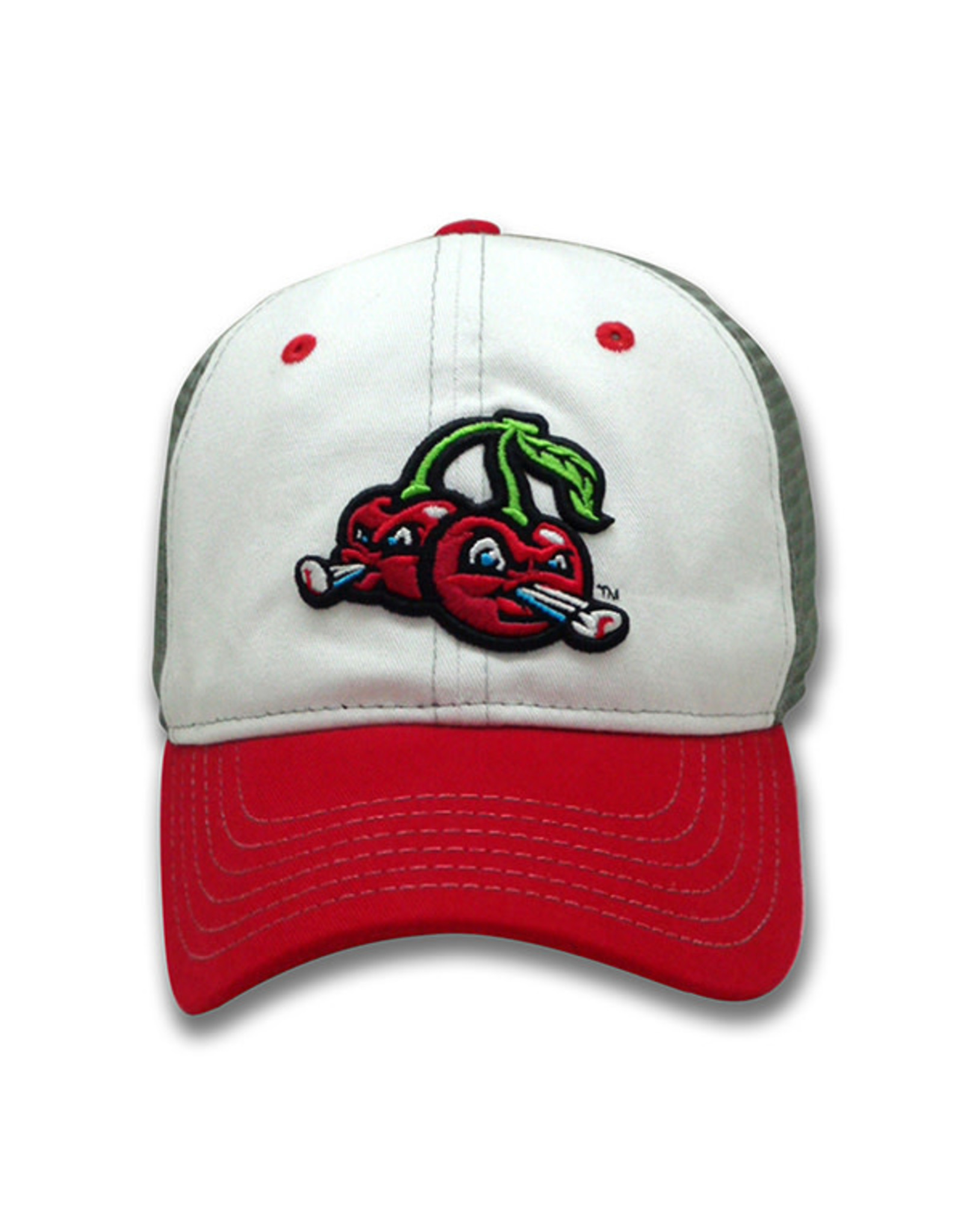 The Game 1620 Youth Trucker White/Grey/Red Cherries Mesh Cap