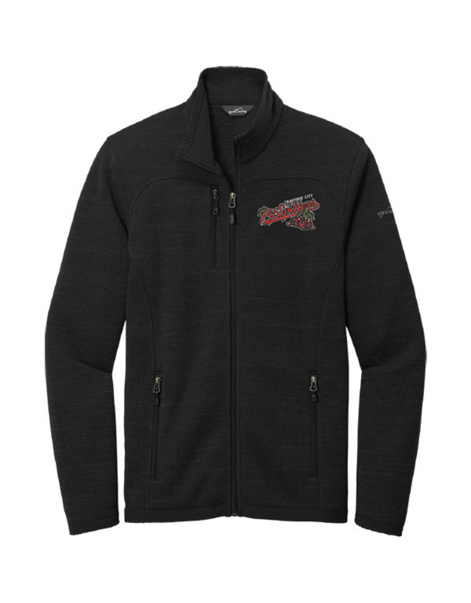 3702 Eddie Bauer Black Sweater Fleece Full Zip Jacket