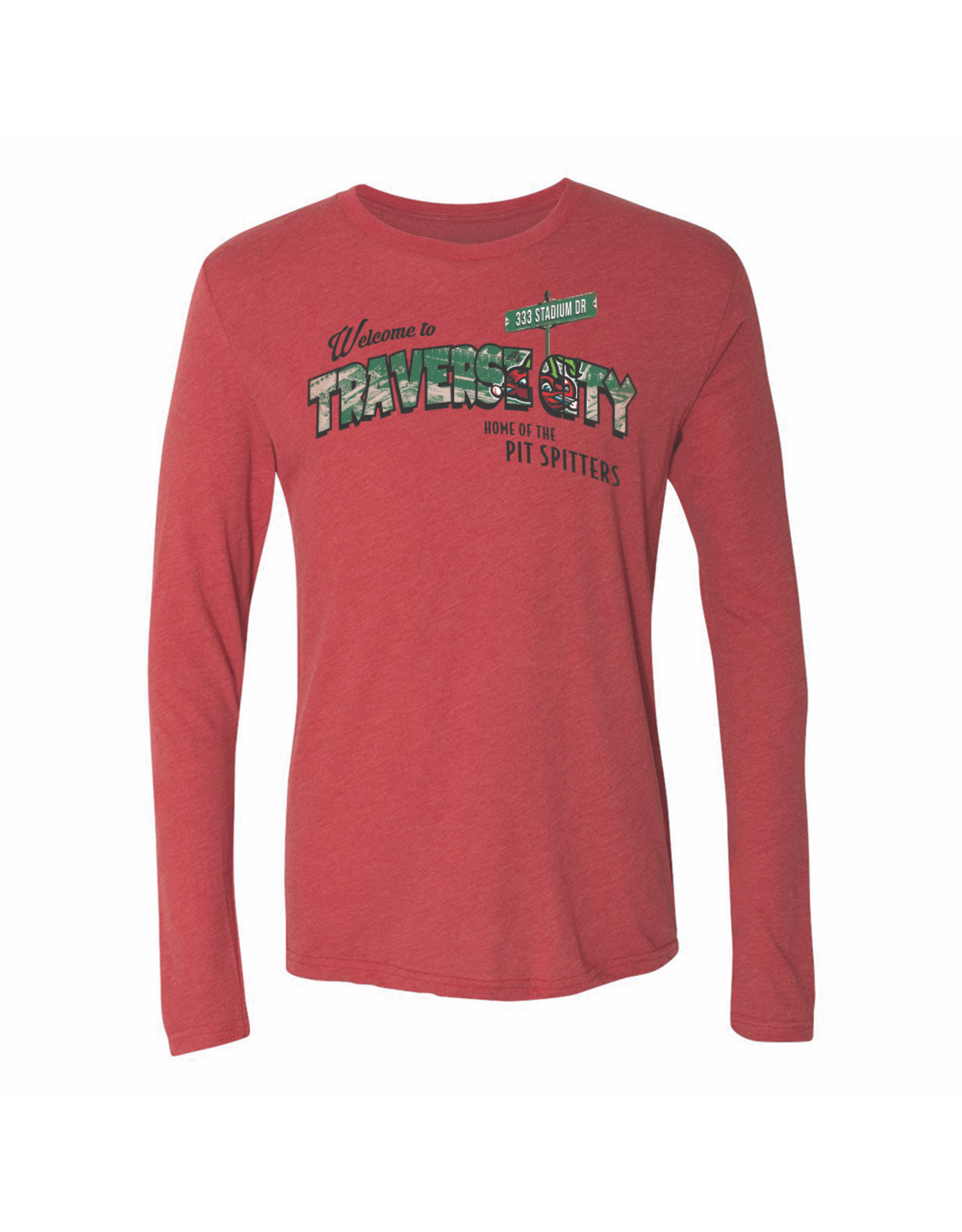 108 Stitches 2223 Triblend Postcard Red Long Sleeve Tee