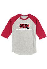 2810 Youth Pillbox Grey/Red Baseball Tee