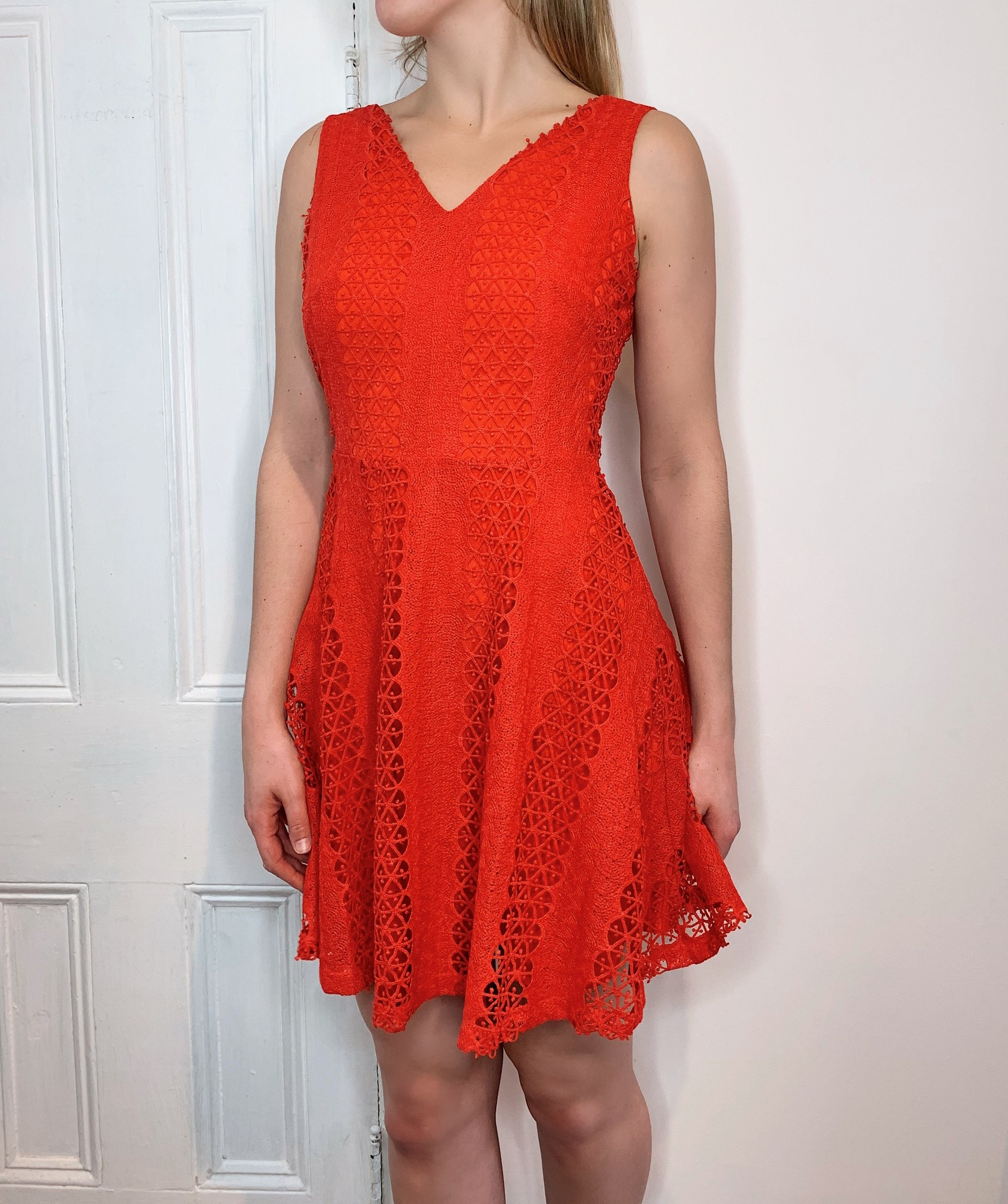 66664f9b Bright Red Lace Dress - Sweet Pea Boutique