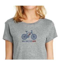 Will Bike For Wine Tee WMN