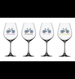 Will Bike For Wine Wine Glass - Set of 4