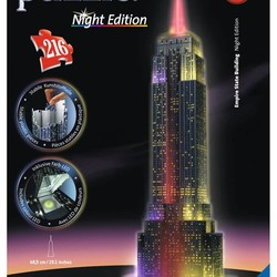 3D Empire State Building Night Edition - 216 Piece Puzzle