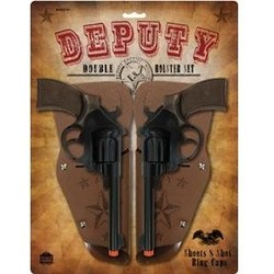 "Western Deputy Double Holster Set Cap Guns 8.5"" Long"