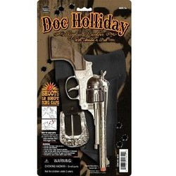 "Diecast Pistol Western Doc Holiday Holster Set Cap Gun 10.5"" Long"
