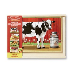 4 Jigsaw Puzzles in a Box - Farm Animals - 12 Piece