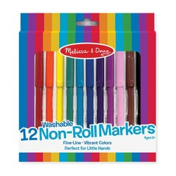 12 Washable Non Roll Markers