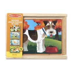 4 Jigsaw Puzzles in a Box - Pets- 12 Piece