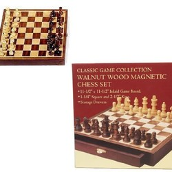 "11.5"" Walnut Wood Magnetic Chess Set"