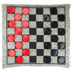 Giant 3 in 1 Checkers & Mega Tic Tac Toe with Reversible Rug