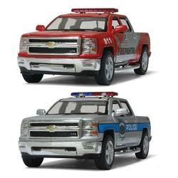 """5"""" Diecast 2014 Chevrolet Silverado Police & Firefighter"""