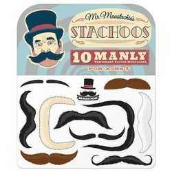 Mr. Moustachio's Stach'oos, 10 Temporary Tattoo Mustaches
