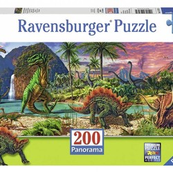 In the Land of the Dinosaurs - 200 Piece Puzzle Panorama