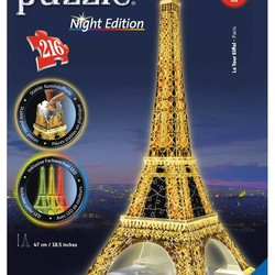 3D Eiffel Tower - Night Edition - 216 Piece Puzzle