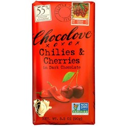 Chilies & Cherries in Dark Chocolate 3.2 oz Bar