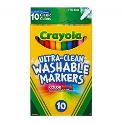 Crayola Ultra-Clean Markers Fine Line Washable 10 Count Classic Colors