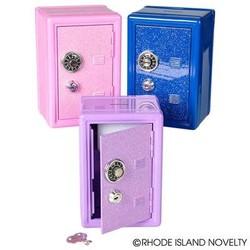 "7"" Glitter Locker Safe Bank Assorted Colors"