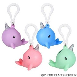 """2.5"""" Squeezy Poo Narwhal Backpack Clip"""