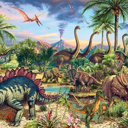 Prehistoric Party Family 350 Piece Puzzle