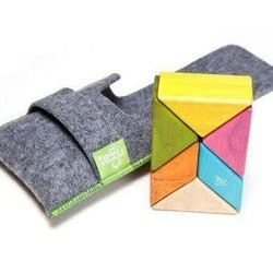 Tegu 6 Piece Tegu Pocket Pouch Prism Magnetic Wooden Block Set, Tints
