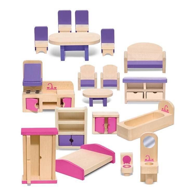 Melissa Doug Wooden Multi Level Wooden Dollhouse