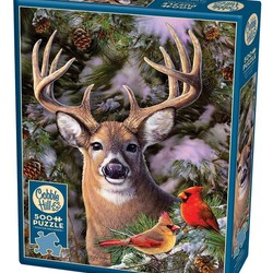 One Deer Two Cardinals 500 Piece Puzzle