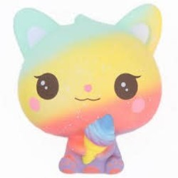 Medium Squishy - Cute Rainbow Kitty